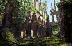 ArtStation - Tropical Cathedra Part II , klaus wittmann Fantasy Art Landscapes, Fantasy Landscape, Environment Concept Art, Environment Design, Fantasy Places, Fantasy World, Fantasy Concept Art, Castle Ruins, Fantasy Setting