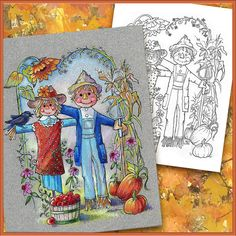Autumn Fall Coloring Book Page  American by PChristensenGallery