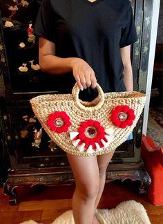 Sicilian Handwoven Straw BasketStraw BagBasket BagStraw