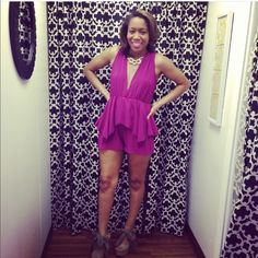 Purple Plunge Romper  You'll love this gently worn (only once) romper that ties across the back. The back is a mirror of the front with a small tie across the shoulder. The second photo best reflects the color. Pair it with an amazing pair of wedges for a casual day time look or with a sexy sandal for the evening. pp, trades, silly questions or holds. Cheers! Pants Jumpsuits & Rompers