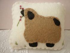 Primitive Pincushion Sheep Wool Felt Applique by pennysbykristie
