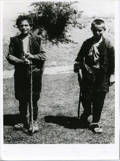 """Epirus, Greece, 1944. Two """"Aetopoula"""" (i.e. Young Eagles), children serving as messengers of EAM (i.e. National Liberation Front), the most numerous of the resistance forces against the Axis Triple occupation of Greece."""