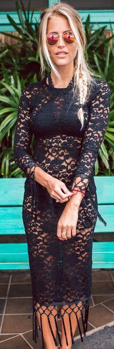 Janni Deler Black Lace Beack Midi Dress