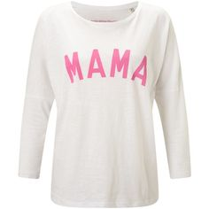 Selfish Mother Mama 3/4 Length Sleeve T-Shirt, White/Neon Pink ($43) ❤ liked on Polyvore featuring tops, t-shirts, print t shirts, three quarter sleeve tees, white t shirt, neon pink t shirt and loose t shirt