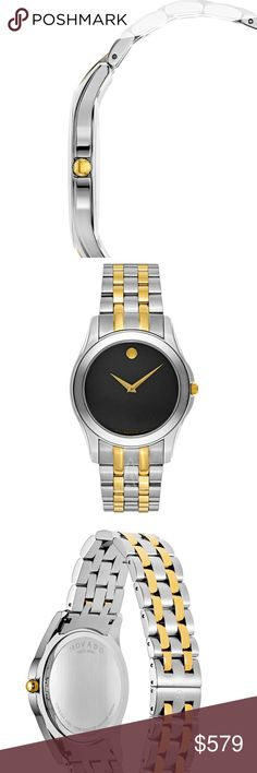 Authentic NIB Classic Signature Movado New in box, signature edition, never worn. Watch is currently working. Retail $995.   Details - Style #: 0606956 - Style: Two-Tone Bracelet - Gender: Men's - Case Material: Two-tone stainless steel - Dial Color: Black with signature concave dot - Hands: Gold-tone - Bracelet Material: Two-tone stainless steel - Case Diameter: 40mm - Closure: Deployment - Movement: Swiss quartz - Crystal: Scratch-resistant sapphire - Water Resistance: 30M - Bezel…