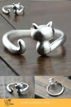 Bague oreilles pattes chat argentée originale taille réglable kawaii cute