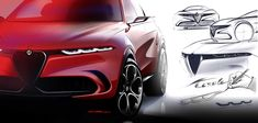 Alfa Romeo has unveiled what will eventually become its first-ever compact SUV at the 2019 Geneva Motor Show. Dubbed 'Tonale', the concept utilizes a hybrid system and, like the Stelvio, is named after a mountain pass in Northern Italy. Alfa Romeo, Jeep Renegade, Porsche, Land Rover, Car Design Sketch, Compact Suv, Geneva Motor Show, Signature Design, Concept Cars