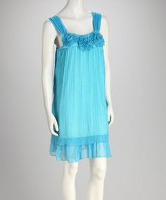 Take a look at this Blue Rosette Sleeveless Shift Dress by Shana-K on #zulily today!