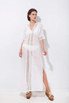 Καφτάνι με διακοσμητική τρέσα και 3/4 μανίκι Ss16, Cover Up, Dresses, Fashion, Vestidos, Moda, Fashion Styles, Dress, Fashion Illustrations