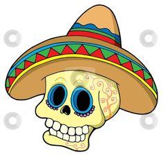 Mexican Fiesta Clip Art   Mexican skull in sombrero stock vector clipart, Mexican skull in ...