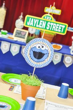 Sesame street centerpieces with a customized twist!