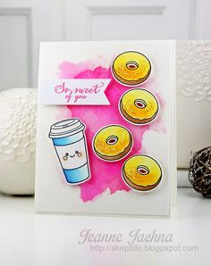 Watercolor Donuts by akeptlife - Cards and Paper Crafts at Splitcoaststampers We Go Together, Cut Image, Lawn Fawn, 29 Days, Stamps, Paper Crafts, February 2016, Watercolor, Kit
