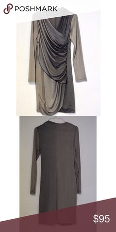 """KOMAROV ombré gray dress Great condition. Absolutely beautiful! 35""""L 17"""" Pit to Pit. Very stretchy. 92% Polyester 8% Spandex. Made in USA Komarov Dresses Midi"""