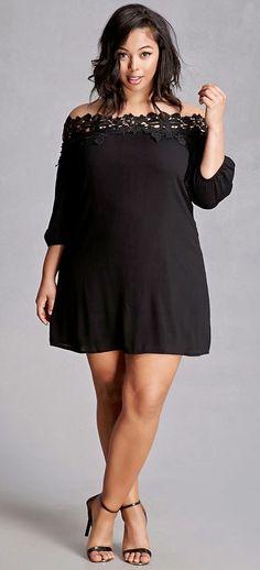 Simplemente Hermoso Plus Size Crochet Mini Dress