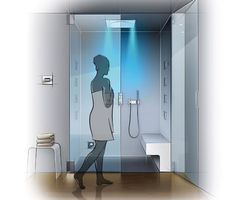 Fascinating lighting effects are an essential part of the GROHE F-digital Deluxe shower system - offering light, steam and a variety of jets #shower #steam #chromotherapy http://www.grohe.co.uk/en_gb/bathroom-collection/showers-f-digital-deluxe.html