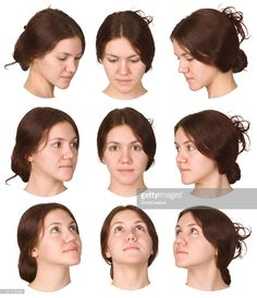 Stock Photo : redhead girl face collection from various views