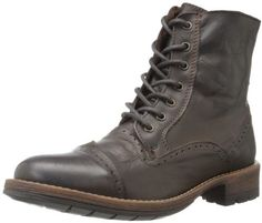 $73, Dark Brown Leather Boots: Steve Madden Nathen Lace Up Boot. Sold by Amazon.com. Click for more info: https://lookastic.com/men/shop_items/214811/redirect
