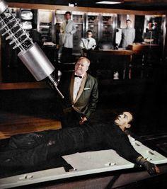 "Goldfinger ~ James Bond: ""Do you expect me to talk?"" Goldfinger: ""No, Mr. Bond, I expect you to die!"" One of the greatest Bond lines! Sean Connery James Bond, Tim Burton, Westerns, Bond Series, Tv Series, George Lazenby, Timothy Dalton, Bond Cars, Haha"