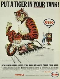 Esso. There used to be an Esso Tiger Tail hanging in the windscreen of my father's car...