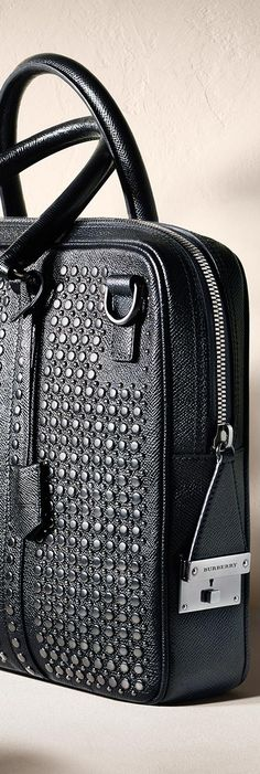 Studded London leather briefcase from the Burberry S/S14 men's accessories collection