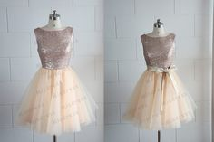 Champagne paillettes or Tulle robe demoiselle d'honneur robe/Prom robe V profond genou dos/dos-nu longueur robe courte