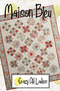 Maison Bleu Quilt Pattern by Crazy Old Ladies at KayeWood.com. You can use yardage, a Jelly Roll, or a Layer Cake to make this quilt. The directions are written for all three! http://www.kayewood.com/item/Maison_Bleu_Quilt_Pattern/2984 $9.00