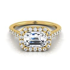 Emerald Cut Diamond Halo Engagement Ring East West With Diamond Pave Shank In 14k Yellow Gold (5/8 Ct.tw.)