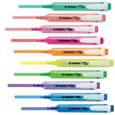 Stabilo Swing Cool Highlighters in a choice of 7 colours. School Equipment, School Pens, School's Out For Summer, Cool School Supplies, Stabilo Boss, Stationery Pens, Lettering Tutorial, Too Cool For School, Organizer