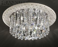 The Cascata Round Crystal Flush Ceiling Light by Franklite Lighting is available from Luxury Lighting. The Franklite Casacata is a truly dazzling, sparkling crystal flush ceiling light in a round design featuring an off-white faux leather surround studded with tiny crystals.