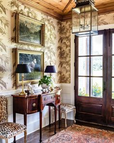 Foyer Design, House Design, Hallway Designs, Chippendale Chairs, Room Planning, Entry Foyer, Entrance Hall, Entryway Decor, Of Wallpaper