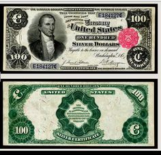 US 100 Dollar Note Series 1891 Serial# Signatures: Tillman / Morgan… Thousand Dollar Bill, American Coins, American Dollar, American History, James Monroe, Money Notes, Silver Certificate, Old Money, Old Coins