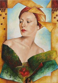 Woman with turban 65 x 45 cm.