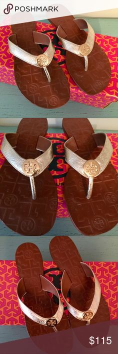 NWT! Tory Burch Thora Sandals NWT Gorgeous versatile sandal in Gold tumbled leather. These run a half size small and are only sold in full sizes. More sizes available soon. Tory Burch Shoes Sandals