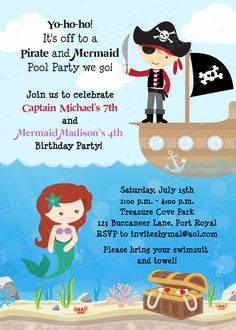 The little mermaid birthday invitation wording by invitesbymal pirate and mermaid birthday invitation available at invites by mal filmwisefo