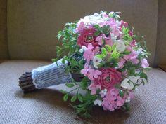 My Clay Bouquet! :  wedding bouquet ceremony clay diy flower flowers green navy pink Bouquet