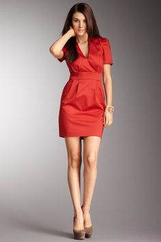 French Connection - Wizard Cotton Dress. Now in ROOSTER RED! ha.