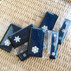 Holiday Winter Blue Snowflake Glass Coaster Set, by GlassCat on Etsy