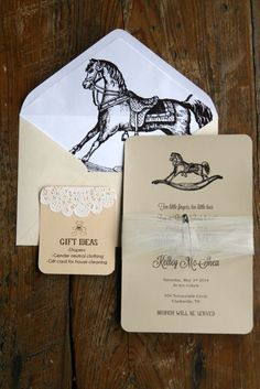 Vintage Rocking Horse Baby shower invitation  www.giftedmomentevents.wordpress.com