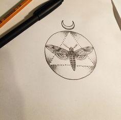 Lunar moth #design #moth #lines #dots