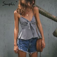 Simplee Casual sleeveless bow plaid jumpsuit romper Summer backless two-piece playsuit Women sexy deep v neck beach overalls