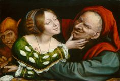 "Quentin Massys, ""Ill-Matched Lovers,"" c. 150/1525  The pairing of unequal couples has a literary history dating back to antiquity. This painting provides a clear illustration of the ideas that old age, especially lecherous old age, leads to foolishness—with the fool participating in the deception by helping to rob the old man's purse—and that women's sexual powers cause men to behave absurdly and to lose their wits and their money."