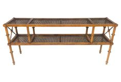 Faux-Bamboo & Caned Console Table