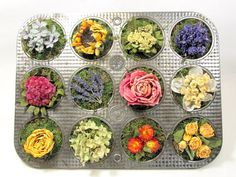 Dried Floral Arrangement, Kitchen Decor, Vintage Muffin Tin, Dried Flowers via Etsy