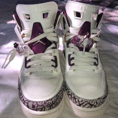 pretty nice 058d7 a9e2e Jordan Shoes   Nike Jordan Spizike Off-White And Purple   Color  Purple