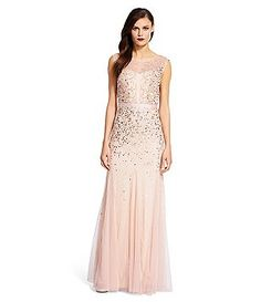 Adrianna Papell Beaded Illusion Neck Sleeveless Gown