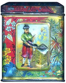 """vintage JG Eisler tea tin with scene of Chinese man and chinoiserie flowers and leaves [side of """"JG Eisler, Tee Importeur, Wien [Tea Importer, Vienna] tin, c. 1900, Austria"""