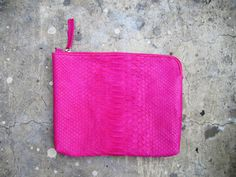 Neon Pink Python Snakeskin Zippered Leather Clutch Bag