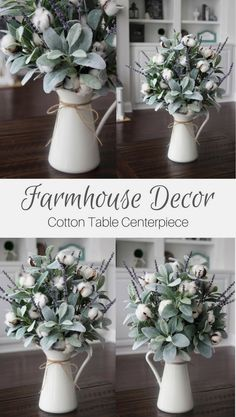 Farmhouse Decor~Cotton Arrangement~Table Centerpiece~Lamb's Ear~Lavender and Cotton in a White Pit ..