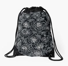 Marigolds white on black  by muralonka
