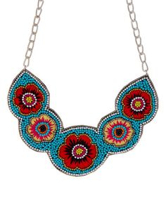 Take a look at this Red & Blue Floral Bead Bib Necklace on zulily today!